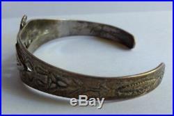 Vintage 1940's Sterling Silver Arrow Navajo Indian Thunderbird Cuff Bracelet