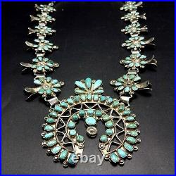 Vintage 1940s ZUNI Sterling Silver TURQUOISE Petit Point SQUASH BLOSSOM Necklace