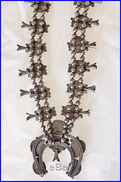 Vintage 1950's Native American Navajo Sterling Silver Squash Blossom Necklace