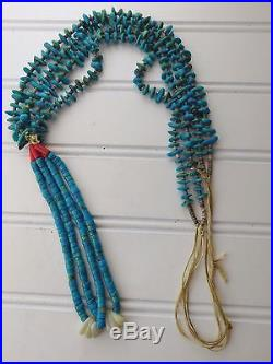 Vintage 1950's PUEBLO SANTO DOMINGO Turquoise Nugget Heishi Bead JACLA NECKLACE