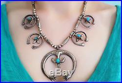 Vintage 1960s NAVAJO Sand Cast Silver Naja & Turquoise SQUASH BLOSSOM Necklace