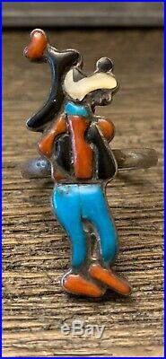 Vintage 1960s Native Zuni Tribe Disney Goofy Turquoise Sterling Silver Ring 10