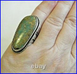 Vintage 1960s Navajo Native Artist Sterling Ring 1.5 Large Royston Turquoise