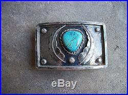 Vintage 1970 Navajo sterling turquoise belt buckle Native American