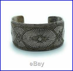 Vintage 1970's Navajo Sterling Silver Overlay Cuff Bracelet
