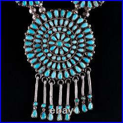 Vintage 1970's Sterling Silver Navajo Native American Turquoise Squash Blossom