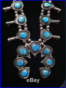 Vintage 1974 Kingman Turquoise Sterling Silver Navajo Squash Blossom with EXTRAS