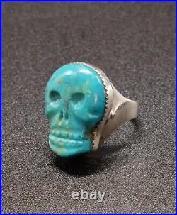 Vintage 1977 Sterling Silver Carved Turquoise Skull Ring Native Navajo Old Pawn