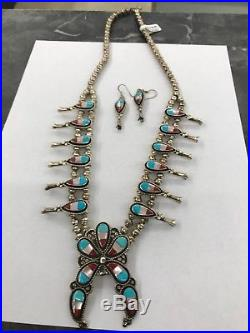 Vintage 24 Sterling Silver Squash Blossom Necklace And Matching Earrings