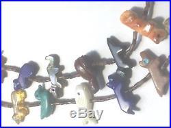 Vintage 2 Strand Zuni Fetish Necklace, Heishi Beads, 40 Varied Animals