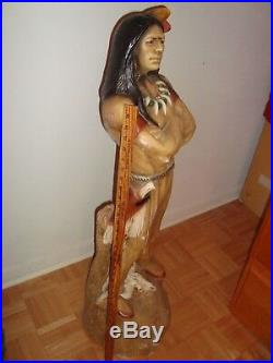 Vintage 3.5' Ft Native American INDIAN Warrior-Chief Chalkware-Plaster Statue