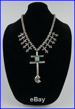 Vintage 90's Sterling Silver Turquoise Squash Blossom Cross Dragonfly Necklace