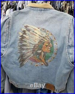 Vintage 90s ralph lauren polo denim jacket native american indian size medium