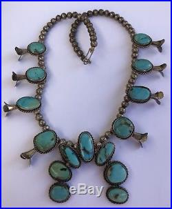 Vintage Antique Navajo Gem Grade Bisbee Turquoise Squash Blossom Necklace
