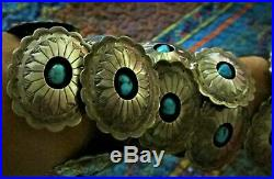 Vintage Arizona Natural Sleeping Beauty Turquoise Sterling Silver CONCHO Belt