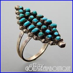 Vintage Arnie Gasper Zuni 925 Silver Snake Eye Turquoise Marquise Cluster Ring