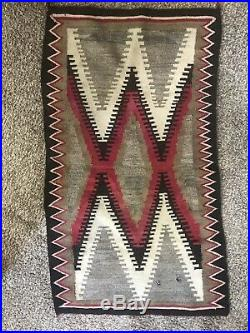 Vintage Authentic Hand Woven Wool Navajo Rug 57'' x 33'' Native American Indian