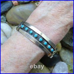 Vintage Bell Trading Post Sterling Snake Eye Turquoise Cuff Bracelet 17 Grams