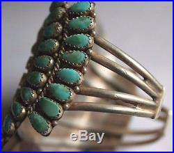Vintage Benson Boyd signed Old Pawn PetitPoint. 925 Turquoise Cluster Bracelet