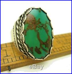 Vintage Big Navajo Sterling Green Turquoise Stamped Mens Ring Sz 11.25 Signed