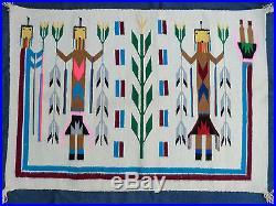 Vintage (C. 1950) Native American Navajo Yei Rug 43 x 30