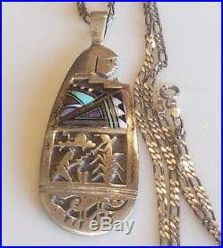 Vintage Chalmers Day Hopi Sterling Silver 925 Onyx turquoise Mop Etched necklace