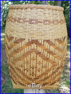Vintage Cherokee Native American Indian River Cane Storage Olla Basket 11 1/2