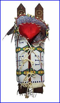 Vintage Cheyenne Native American full size Papoose Cradleboard fully beaded
