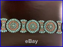 Vintage Concho Sterling Silver Turquoise Belt JW Marking Beauty