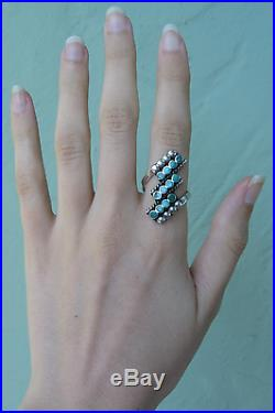 Vintage Dishta Zuni Indian Silver Turquoise Ring Size 6 1/2