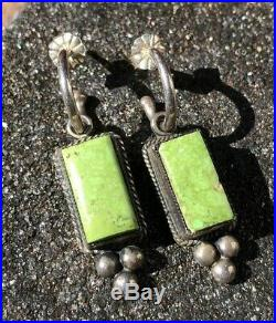 Vintage Don Lucas Sterling Silver Green Carico Lake Turquoise Dangle Earrings