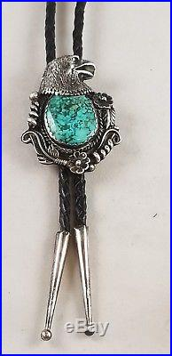 Vintage ELY Sterling Silver Navajo Turquoise Eagle Black Leather Bolo Tie