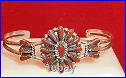 Vintage Estate Coral Zuni Bracelet Signed Judy Wallace Native American Petit