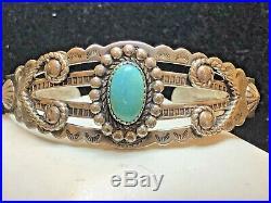 Vintage Estate Sterling Silver Native American Cuff Bracelet Turquoise Signed