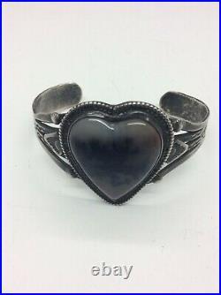 Vintage Fred Harvey Era Cuff Bracelet Sterling Silver Petrified Wood Heart