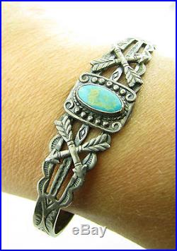 Vintage Fred Harvey Era Navajo Maisels Sterling Turquoise Arrows Cuff Bracelet