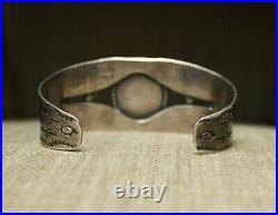 Vintage Fred Harvey Era Navajo Turquoise Sterling Silver Cuff Bracelet