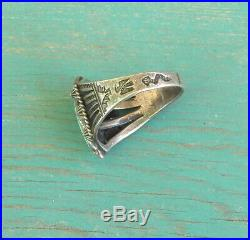 Vintage Fred Harvey Era Silver Snake Thunderbird Stamps Turquoise Ring Size 9