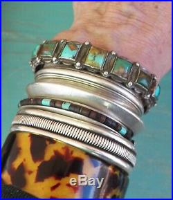 Vintage Fred Harvey Era Silver Square Green Turquoise Cuff Bracelet 38.1 Grams