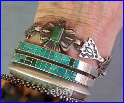 Vintage Fred Harvey Era Stamped Ster Green Turquoise Thunderbird Arrow Bracelet