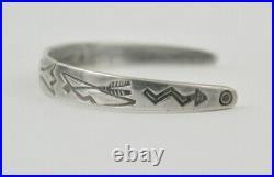 Vintage Fred Harvey Era Sterling Silver Whirling Log Stamped Child's Bracelet