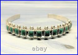 Vintage Fred Harvey Era Sterling Turquoise Cuff Bracelet