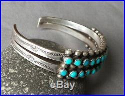 Vintage Fred Harvey Era Zuni Silver Snake Eye Turquoise 2 Row Cuff Bracelet