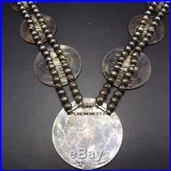 Vintage HOPI Sterling Silver OVERLAY SQUASH BLOSSOM Necklace TURTLE SUN