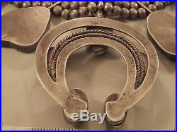 Vintage HUGE NAVAJO SQUASH BLOSSOM TURQUOISE NECKLACE STERLING SILVER 418 gm