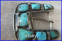 Vintage Hand Made Native American Navajo Sterling W Turquoise Belt Buckle