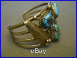 Vintage Handcrafted Native American Turquoise Sterling Silver Cuff Bracelet