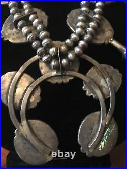 Vintage Handmade Navajo Turquoise & Sterling Silver Squash blossom Necklace