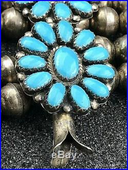 Vintage Handmade Navajo Turquoise & Sterling Silver Squash blossom Necklace LMB