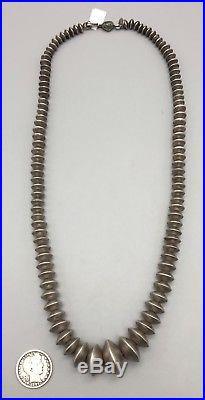 Vintage Handmade Sterling Silver Navajo Pearls Signed Unique Necklace